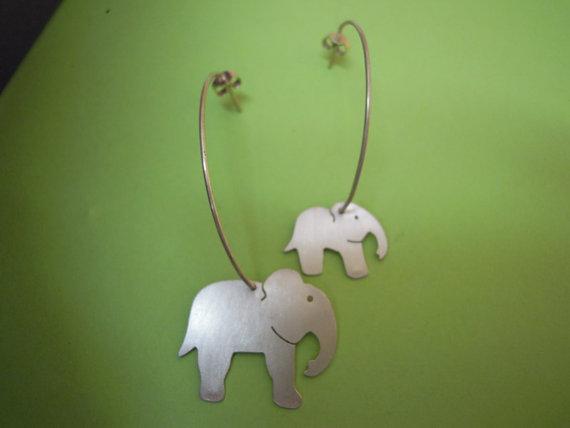 Elephant Hoop Earrings